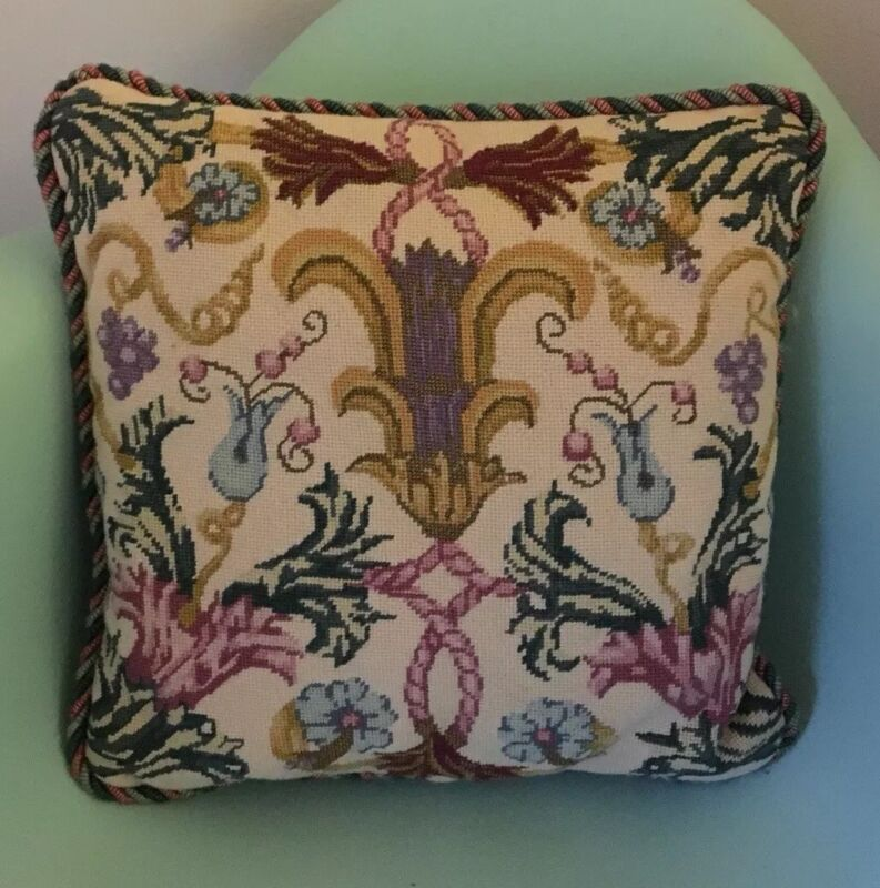 "Jacobean Style Needlepoint Pillow Cream Rose Green Metallic Gold 16"""