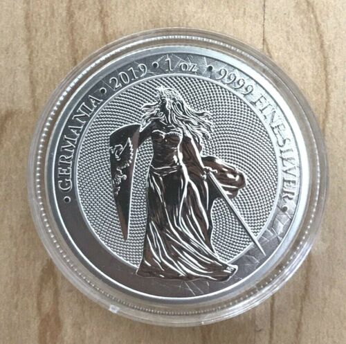 2019 GERMANIA Shield & Sword 5 MARK 1OZ SILVER First Issue 25K minted NICE EBUX