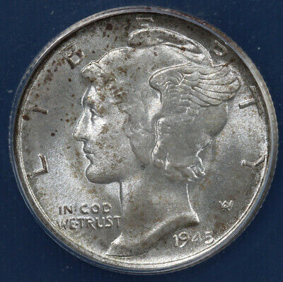 Nice Grade 1945-D Antique Solid WW2 Date Vintage Silver Mercury Dime Ten Cent Piece Authentic U.S Coin 1.00 Shipping