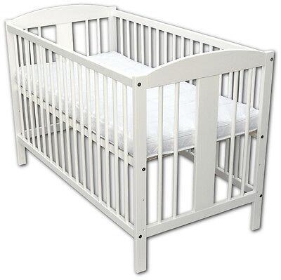 Wiegen Möbel (Babybett Kinderbett Wiegebett 120x60 Weiß mit Matratze Neu)