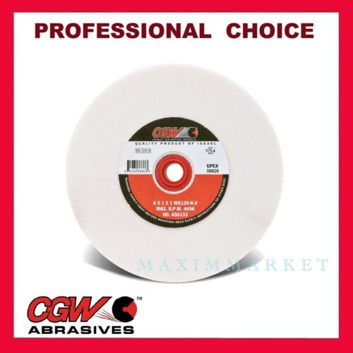 """6"""" x 1"""" x 1"""" CGW White Aluminum Oxide Grinding Wheel for Bench Grinder Grit 120"""