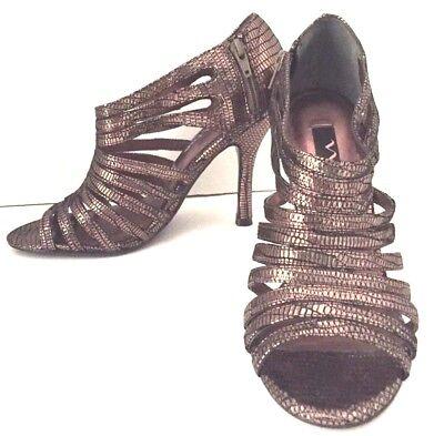 (NINA Womens Heels Strappy Open Toe Sandals Bronze Metallic Size 5.5)
