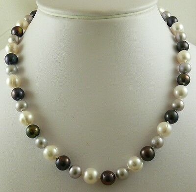 Freshwater Multi-Colored Necklace 14k White Gold Lock 18 1/2 inches