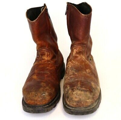 Men's IRON AGE Steel-Toe Cowboy Boots Size 10 W Work Pull On Slip Resistant MT75