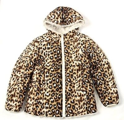 High End Girl Clothes (High-end Girl's Jacket Reversible Faux Fur Animal Print Brown & Ivory Size)