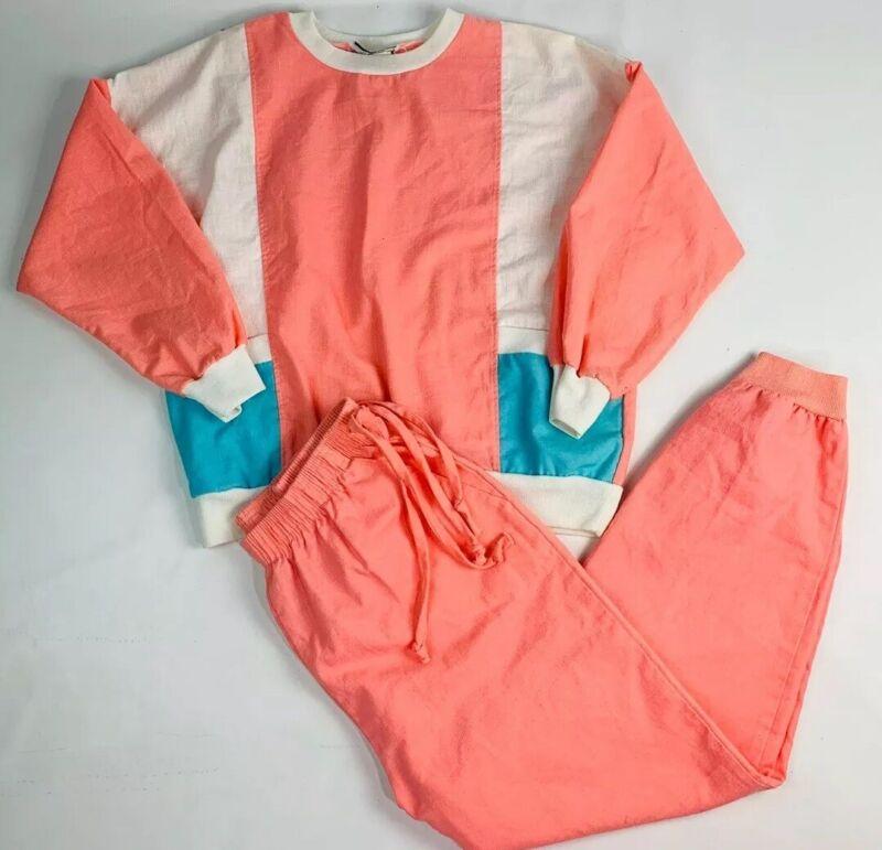 Vintage 80s Streetwear XL Pink Color Block Track Suit 2 Piece Outfit Joggers