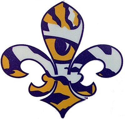 "LSU TIGERS 4"" FLEUR DE LIS PREMIUM VINYL DECAL TUMBLER LICENSED NCAA"