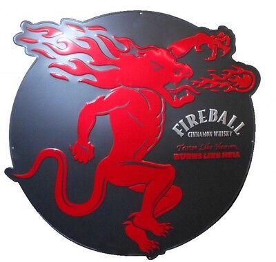 """Fireball Whiskey Large Round Metal Bar Sign 32"""""""
