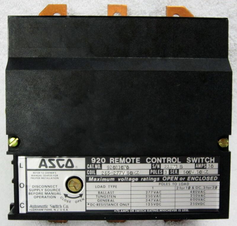 ASCO 920 New 33030  3 pole Lighting Contactor 30 amp Feeder Circuits No Subpanel