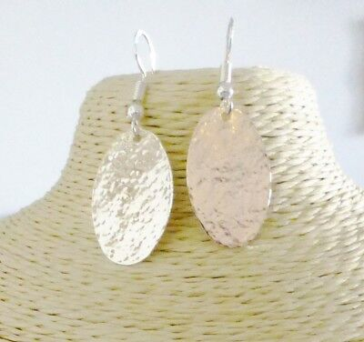 Hammered Oval Disc Earrings With Sterling Silver