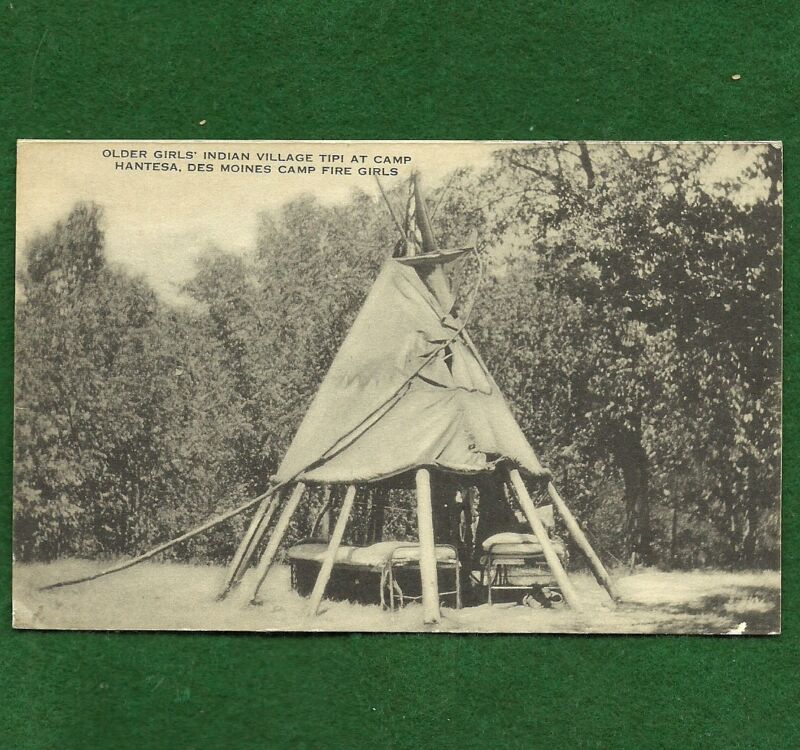 CAMPFIRE GIRLS POSTCARD -  CAMP HANTESA - DES MOINES - NOT SCOUT