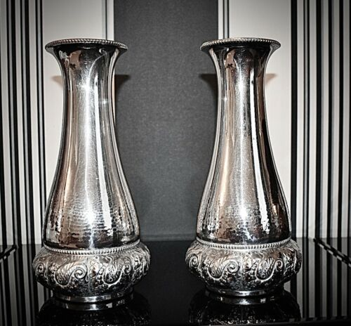 WMF Exceptionally Beautiful Pair of Art Nouveau Silver Plated Vases, Signed 1903