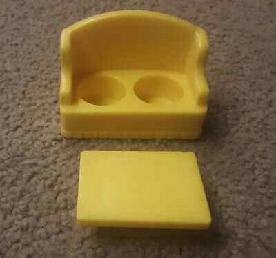 VINTAGE FISHER-PRICE LITTLE PEOPLE YELLOW SOFA & COFFEE TABLE, 2 PIECE LOT