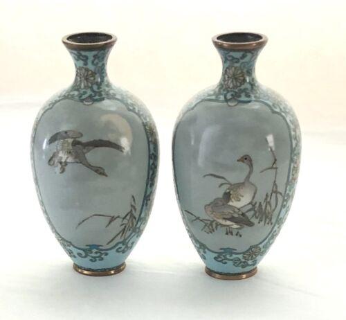 "Pair of Antique Japanese Meiji Period Powder Blue & Grey Cloisonne 6"" Vases"