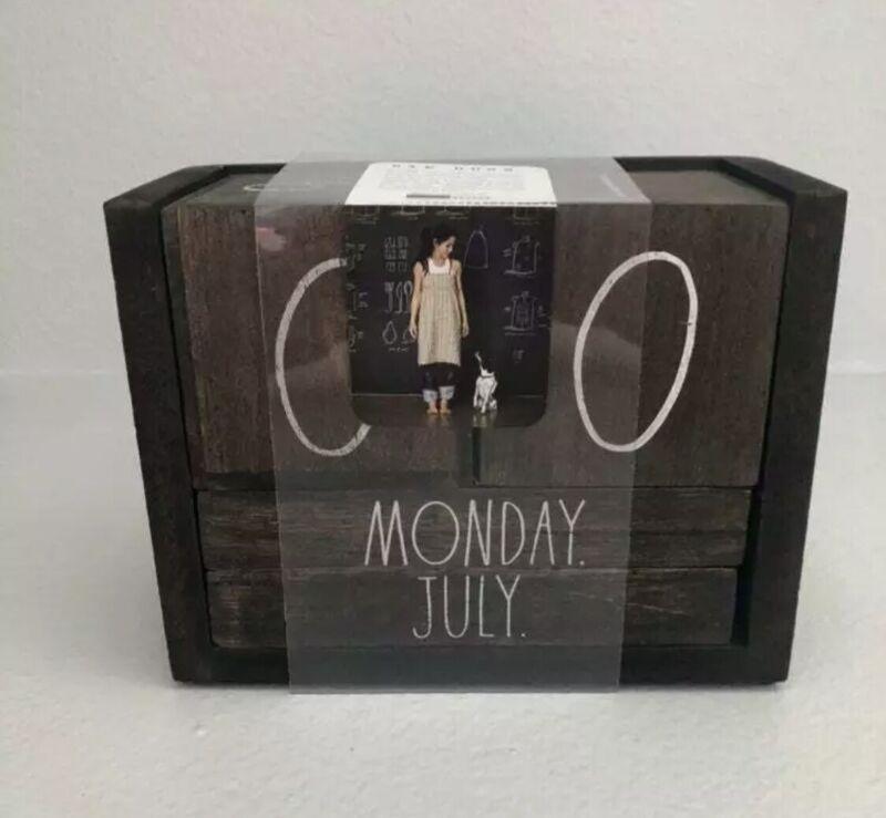 Rae Dunn Wooden Block Calendar Distressed Dark Brown White Letters Desk NEW RARE