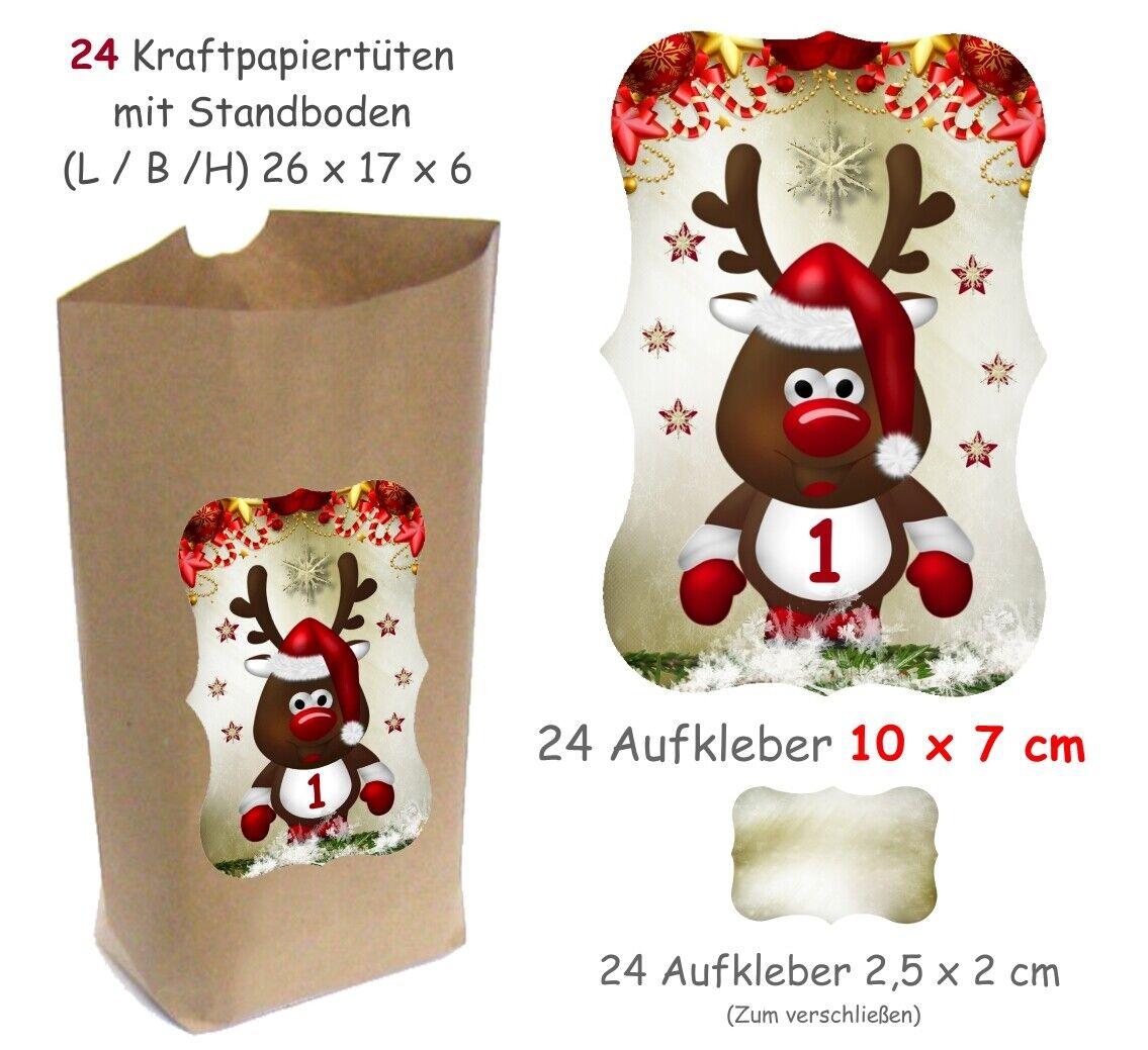 Adventskalender zum Befüllen 24 Geschenktüten - 24+24  Aufkleber Papiertüte DIY