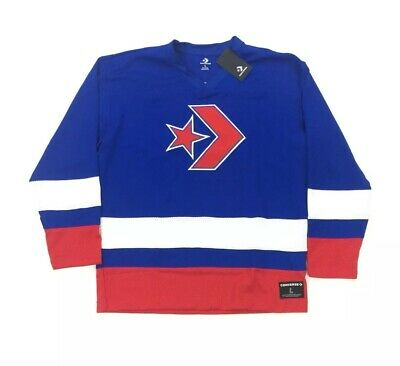 NEW Converse All Star Hockey Jersey Long Sleeve T Shirt Red Blue White Mens L -