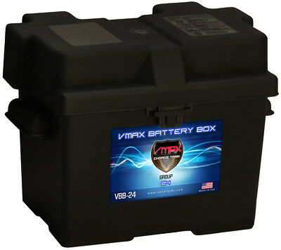 VMAX Group 24 Universal Battery Box with strap, heavy duty marine battery box