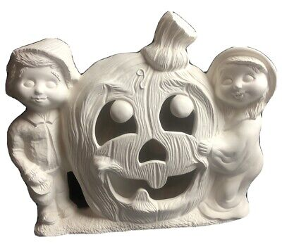 Vtg Ceramic Bisque Halloween Decor Large Pumpkin With Boy Girl Ready To Paint