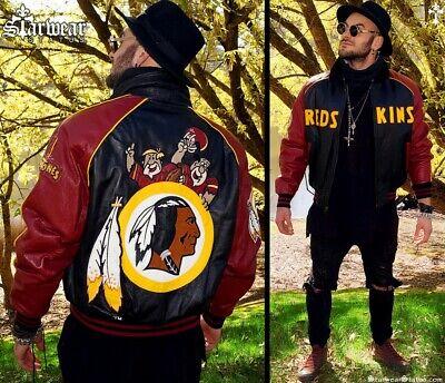 90s Vtg Redskins NFL Flintstones Leather Indian Chief Motorcycle Jacket M/L 44