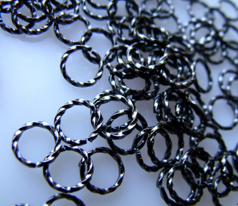 Twisted 10mm Brass Jumprings in Gunmetal Finish 100 Pieces