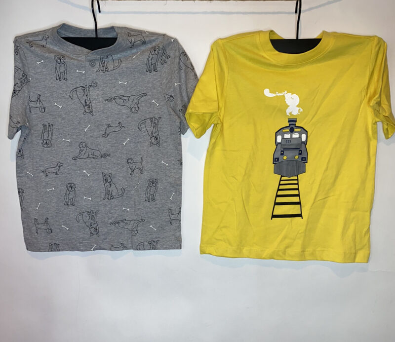 2 HANNA ANDERSSON NWT Boys Shirts Gray Dog & Yellow Train 6 / 7 SS