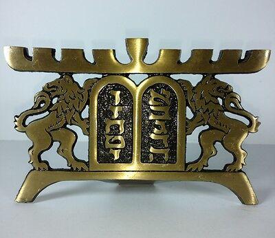 Hen Holon Israel Menorah Lions of Judah Brass Signed Modernist Brutalist Judaism