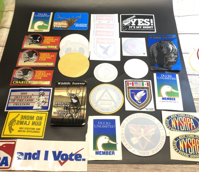 lot of VTG stickers & window decals NRA wildlife guns  lot of 28