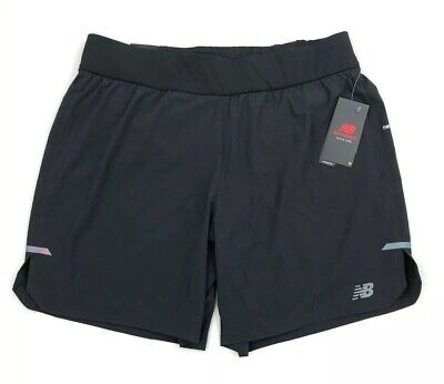 "New Balance Q Speed Run Crew Shorts Size XL Black Lined 7"" Short 2 In 1 New"