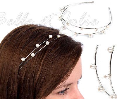 Haarreif mit Perlen verziert  Braut  Hochzeit Feier Abi Ball Kommunion