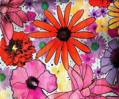 Summer Flower Power Floral Tissue Paper # 227 / Gift Paper -- 10 Large Sheets