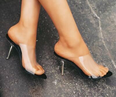 NEW Transparent Clear Open Toe Slide Mules Pump Sandal Shoe Lucite Stiletto Heel