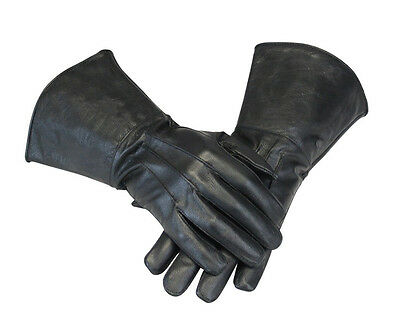 Leather Gauntlet Motorcycle Unlined Gloves - Gauntlet Gloves