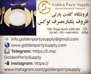 Golden Party Supply - Elegant Disposable Tableware