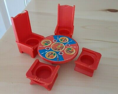 Vintage Fisher Price little people red King's table & 4 thrones-Castle 993