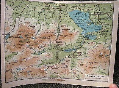 Map KILLARNEY DISTRICT Lakes MacGillycuddy Reeks IRELAND J Bartholomew 1890s