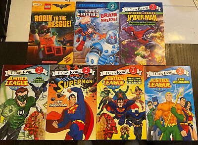 I Can Read and Reading With Help Kids Superhero Books Level 2 Lot of 7