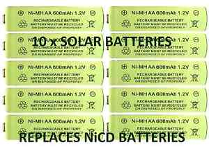 10 x aa 1 2v 600mah nimh rechargeable batteries for solar lights replaces nicd. Black Bedroom Furniture Sets. Home Design Ideas