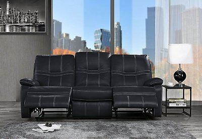 Black Leather Match Recliner - Classic Upholstered Leather Match Recliner Sofa, 3 Seater Couch 83