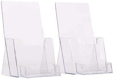 2 Pack Clear Tri-fold Brochure Holder With Business Card Holder Qty 2