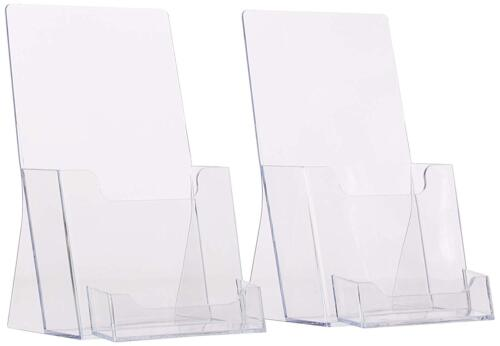 (2 Pack) Clear Tri-Fold Brochure Holder with business card Holder (QTY: 2)