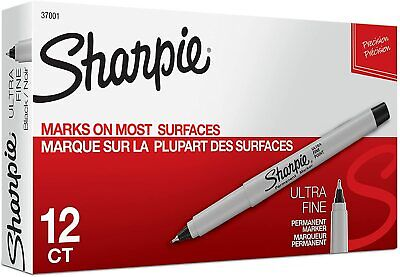 Sharpie Permanent Markers Ultra Fine Point Black 12 Count 37001 Freeshipping