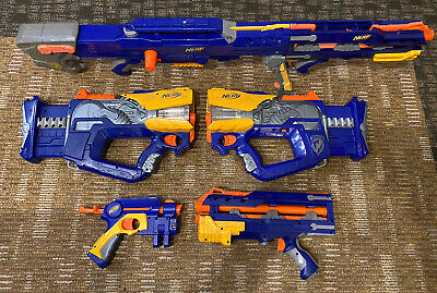 NERF N-Strike Blue/Yellow Blaster Lot - Longshot CS-6 Firefly Rev-8 Nite Finder