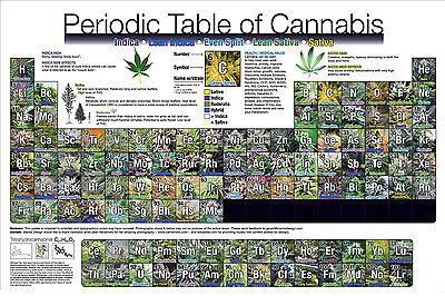 Periodic Table Of Cannabis Fabric Art Cloth Poster 20X13   36X24  Decor 20