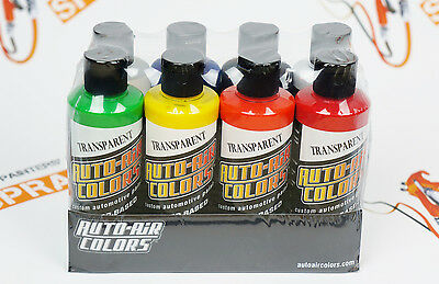 Createx Auto-Air colors Transparent Paint Set 4oz.7 colors + reducer water-based