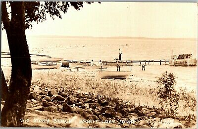 RPPC Big Stony Beach, Spirit Lake IA Docks Piers Boats c1938 Vtg Postcard C32