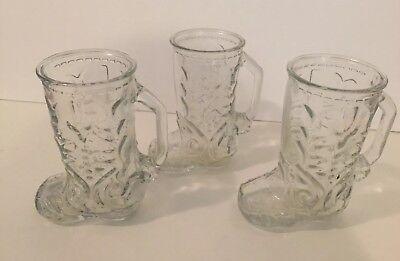 Set 3 Libby of Canada Glass Cowboy Boot Glass Mug Drinking Glasses 6 1/2
