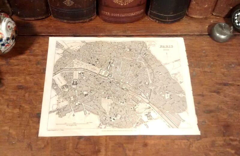 Intricately Detailed Original 1831 Rare PARIS FRANCE Antique Steel Engraved Map