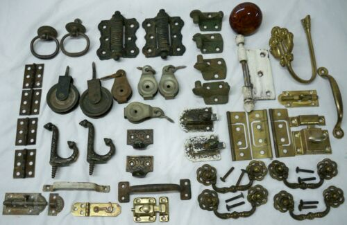 Lot Of Assorted Vintage Hardware Hinges, Drawer Pulls, Latches, Hooks, Pulleys