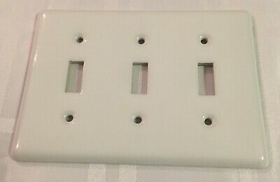 Amertac White Porcelain 3-Gang Toggle Light Switch Ceramic Wall Plate Cover 3 Gang Switch Cover